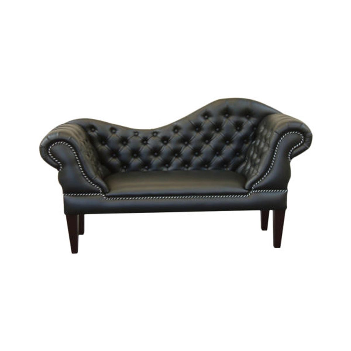 Black faux leather slipper sofa for Black faux leather chaise lounge