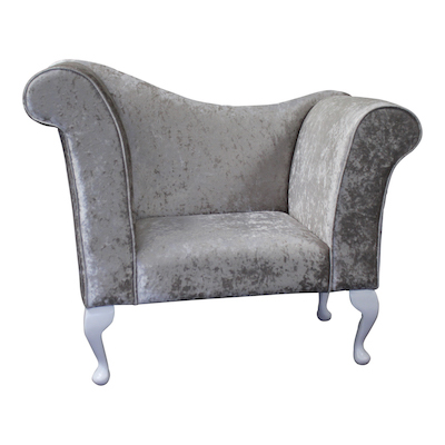 Charmant Bertie Chaise Chair / Armchair In An Silver Crushed Velvet Fabric