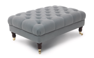 medium footstool silver suede