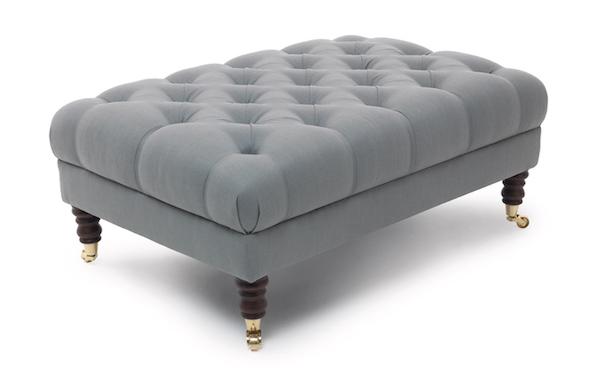 medium footstool silver suede