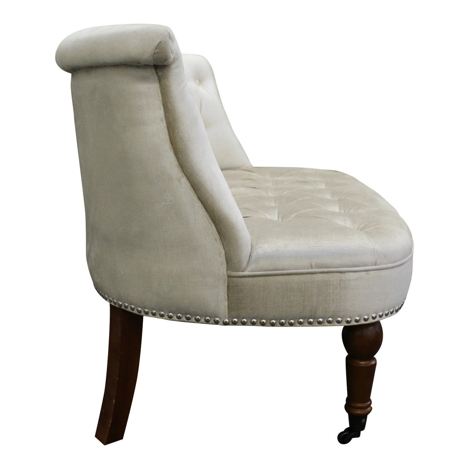 Homeu003eOccasional Chairsu003eAudra Snuggle/Love Chair In Soft Beige Chenille