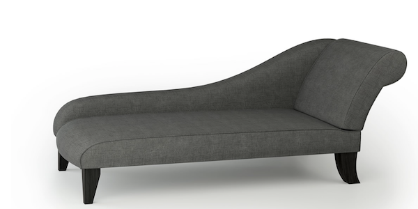 Modern Large Chaise Longue In Charcoal Linen Simply Chaise