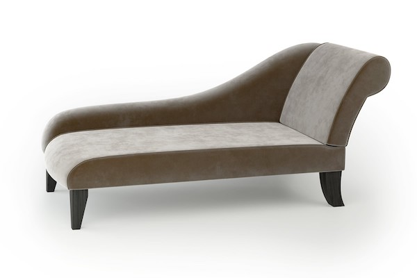 Modern Large Chaise Longue In Mink Velvet