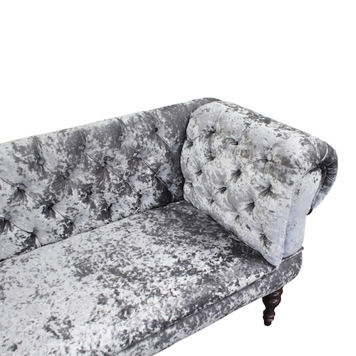 Silver Crushed Velvet Slipper Sofa Simply Chaise