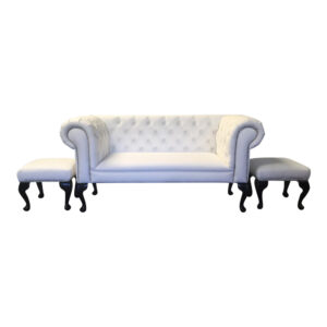 slipper sofa in white faux leather