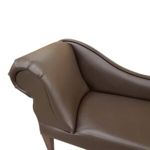 6370 brown faux leather detail. chaise longue
