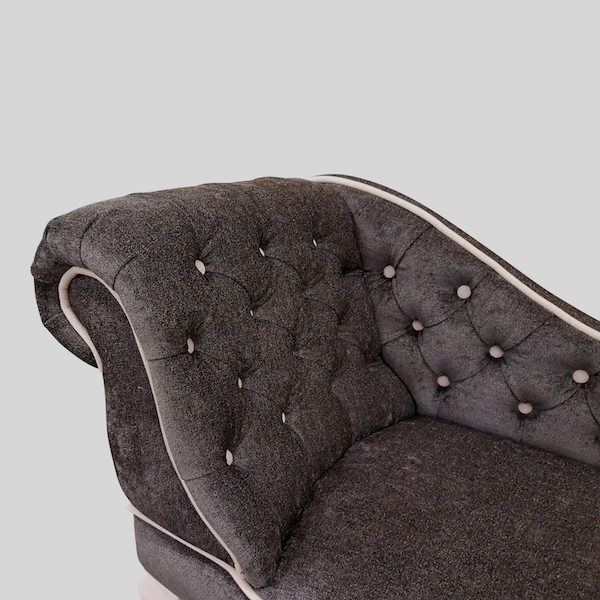 contrast charcoal-beige chenille detail. chaise longue jpg