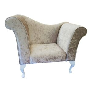 beige crushed velvet chaise logue chair